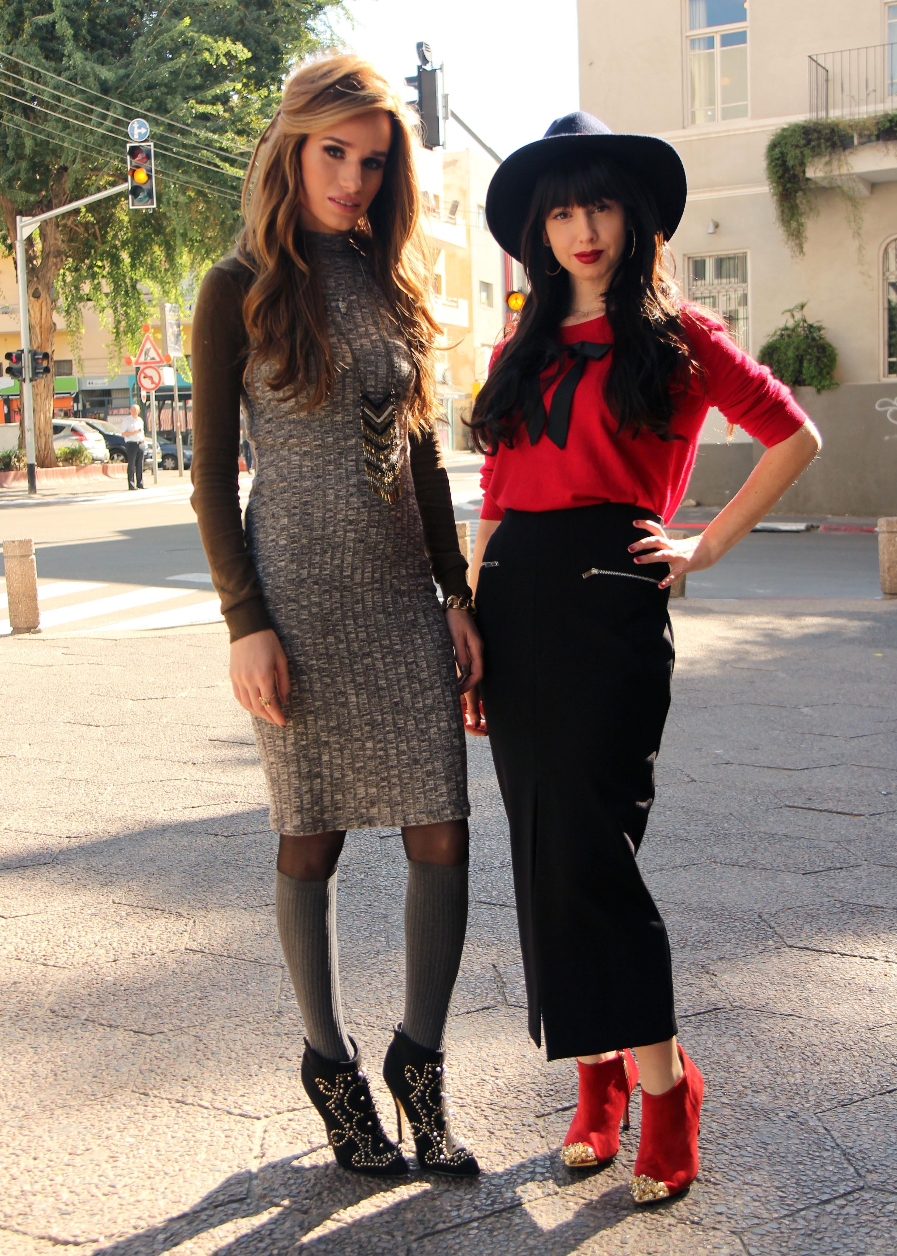 חצאית מידי שחורה ומגפון אדום : ZARA כובע FOREVER21